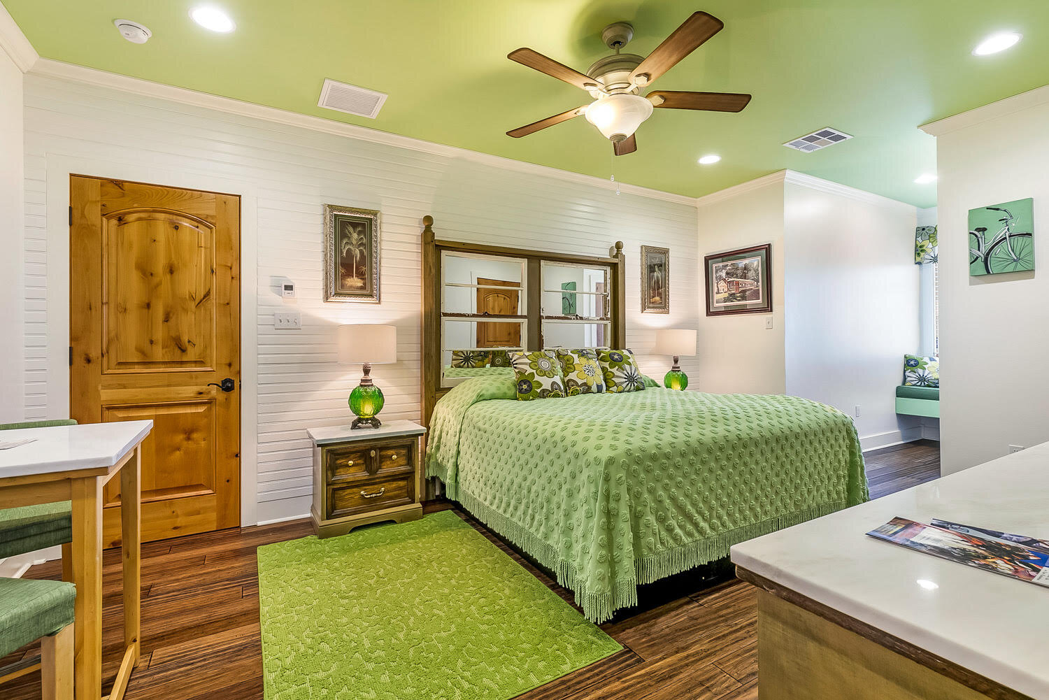 bedroom with green accents